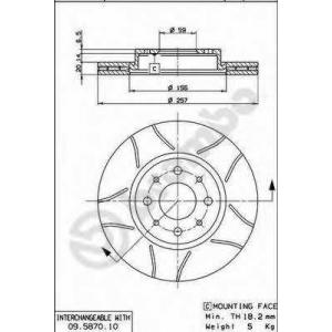BREMBO 09.5870.75 Тормозной диск Фиат Страда
