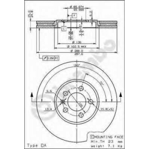 BREMBO 09674710 Тормозной диск