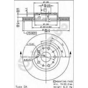 BREMBO 09.6769.20 Тормозной диск Лансия