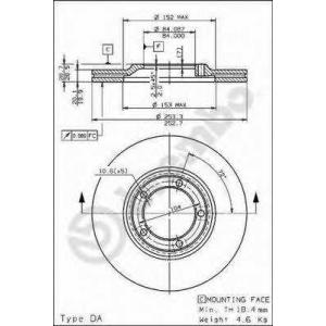 BREMBO 09.6804.10 Тормозной диск Хюндай Н100