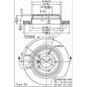 Тормозной диск 09684114 brembo - BMW 5 (E39) седан 523 i