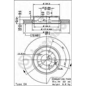 Тормозной диск 09684514 brembo - MERCEDES-BENZ C-CLASS (W202) седан C 280 (202.028)