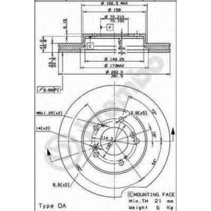 BREMBO 09.6893.14 Тормозной диск Акура Легенд