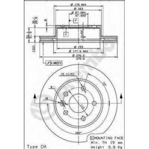 BREMBO 09.6983.10 Тормозной диск вентилируемый