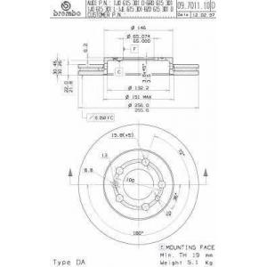 Тормозной диск 09701114 brembo - AUDI A3 (8L1) Наклонная задняя часть 1.6