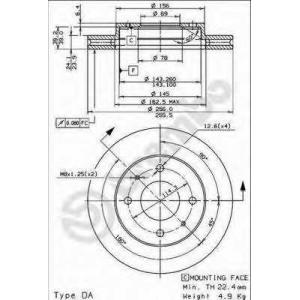 Тормозной диск 09704310 brembo - MITSUBISHI GALANT V седан (E5_A, E7_A, E8_A) седан 2.0 GLSTD (E57A)