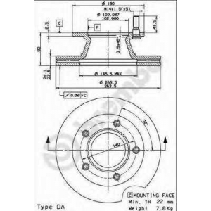 BREMBO 09.7157.10 Тормозной диск Мерседес 100