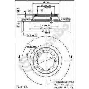 BREMBO 09.7262.10 Тормозной диск Бмв 5
