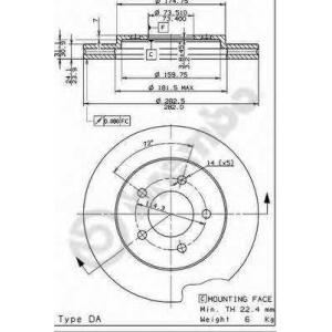 BREMBO 09.7367.14 Тормозной диск Додж Караван