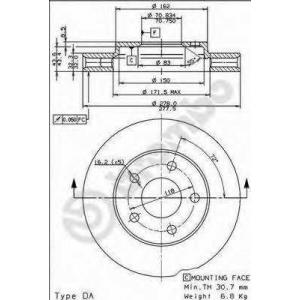 BREMBO 09.7376.11 Тормозной диск Опель Синтра