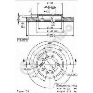 BREMBO 09.7629.10 Тормозной диск Шевроле Зафира