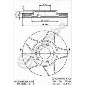 BREMBO 09.7629.75 Тормозной диск Шевроле Зафира