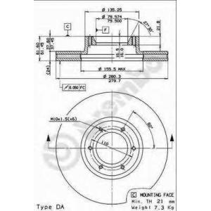 BREMBO 09.7717.10 Тормозной диск Опель Мовано
