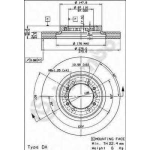 BREMBO 09.8071.10 Тормозной диск вентилируемый