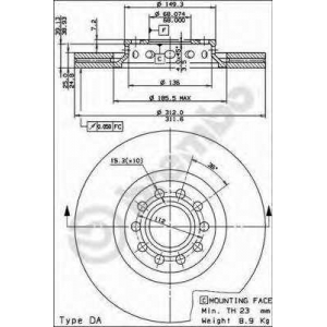 Тормозной диск 09869011 brembo - AUDI A6 (4B, C5) седан 1.8 T