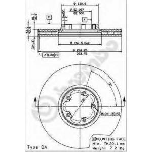 09883714 brembo Тормозной диск FORD TRANSIT автобус 2.4 DI [RWD] (F_B_, F_C_, F_A_)