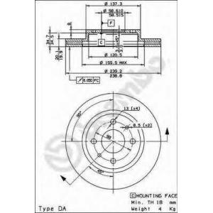 BREMBO 09.8894.14 Тормозной диск пер. LADA1101,5 R13 Brembo