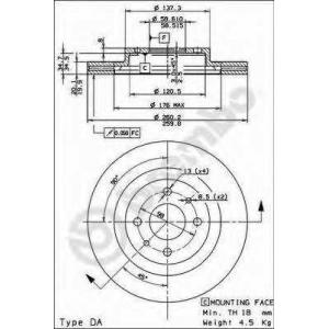 BREMBO 09.8903.14 Тормозной диск пер. LADA1101,5 R14 Brembo