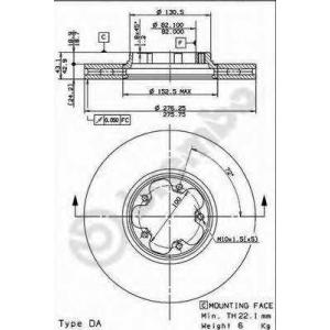 BREMBO 09.8960.10 Тормозной диск вентилируемый