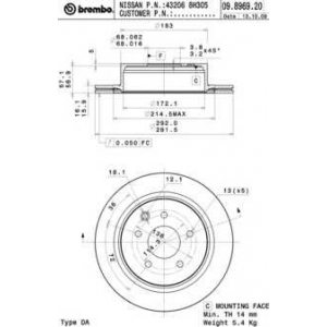 BREMBO 09.8969.20 Тормозной диск