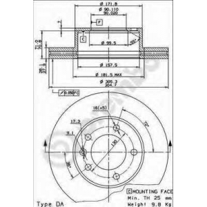 09908010 brembo Тормозной диск RENAULT MASTER фургон 2.5 D