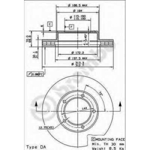 Тормозной диск 09914310 brembo - TOYOTA LAND CRUISER 100 (_J10_) вездеход закрытый 4.7 (UZJ100_)