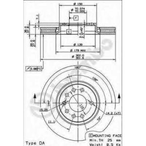 09916214 brembo Тормозной диск OPEL VECTRA Наклонная задняя часть 3.2 V6