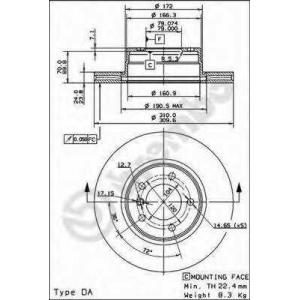 BREMBO 09.9173.14 Тормозной диск Brembo