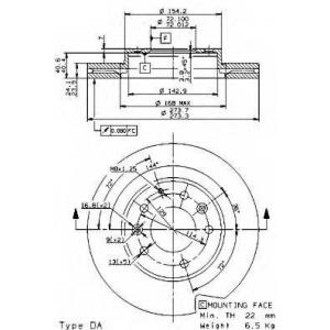 09958514 brembo Тормозной диск MAZDA 626 универсал 2.0