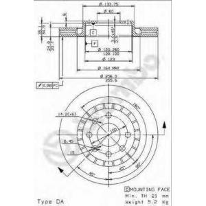 BREMBO 09.9608.24 Тормозной диск Дэу Есперо