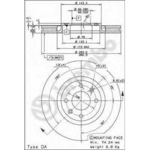 ��������� ���� 09961910 brembo - CITRO?N C4 (B7) ��������� ������ ����� 1.6 VTi 120