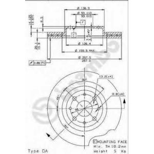 BREMBO 09.9631.14 Тормозной диск Фиат Типо