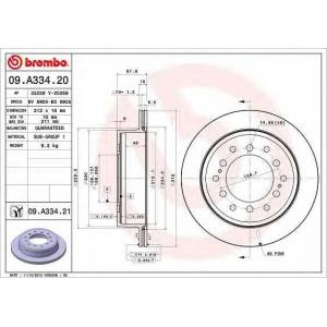 BREMBO 09.A334.20 Тормозной диск вентилируемый