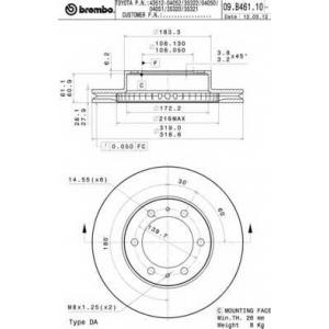 BREMBO 09.B461.10 Тормозной диск