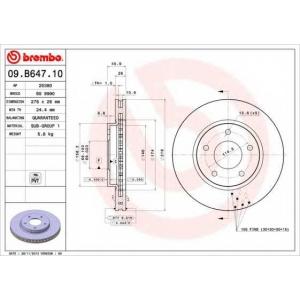 BREMBO 09.B647.10 Тормозной диск вентилируемый