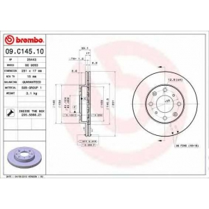 BREMBO 09.C145.10 Тормозной диск