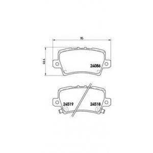 Комплект тормозных колодок, дисковый тормоз p28038 brembo - HONDA CIVIC VIII Hatchback (FN, FK) Наклонная задняя часть 1.4
