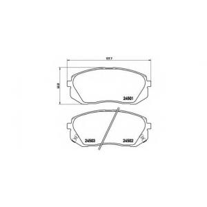 Комплект тормозных колодок, дисковый тормоз p30039 brembo - KIA CARENS III (UN) вэн 2.0 CVVT