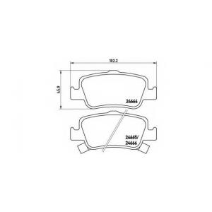 Комплект тормозных колодок, дисковый тормоз p83080 brembo - TOYOTA AURIS (ZZE15_, ADE15_, ZRE15_, NDE15_) Наклонная задняя часть 2.2 D