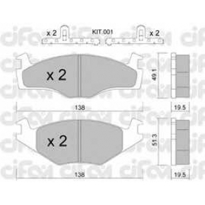 CIFAM 8220451K Комплект тормозных колодок, дисковый тормоз