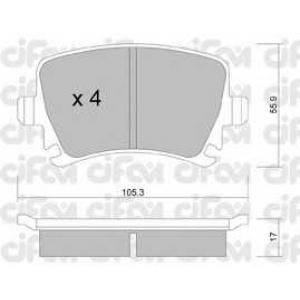 CIFAM 822-553-0 Колодка торм. AUDI A4, SEAT, SKODA,VW задн. (пр-во Cifam)