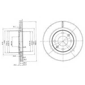 DELPHI BG2387 Тормозной диск Ситроен Бх Брейк