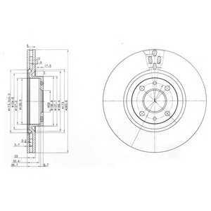 DELPHI BG2407 Тормозной диск Лансия