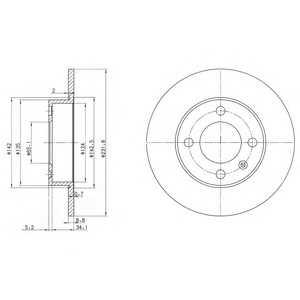 DELPHI BG3505 Тормозной диск