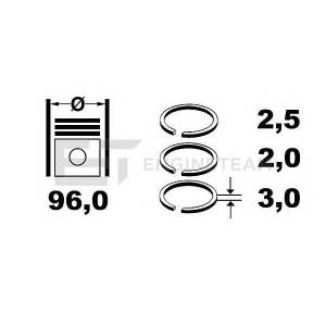 ET ENGINETEAM R4001400 Комплект колец на поршень (4 шт. )