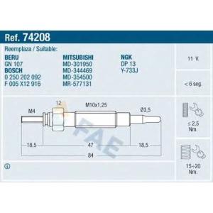 FAE 74208 Свеча накаливания