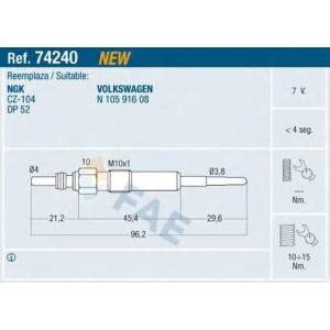 FAE 74240 Свічка накалу VW Crafter 2.5TDi 7V