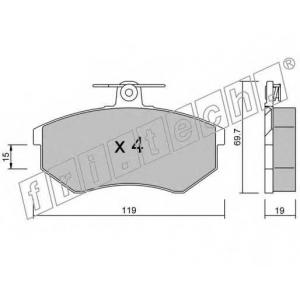 FRI.TECH 151.0 Колодки тормозные дисковые, комплект(под невентилируемые диски)