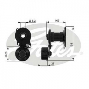 GATES T38233 Натяжной ролик, поликлиновой  ремень