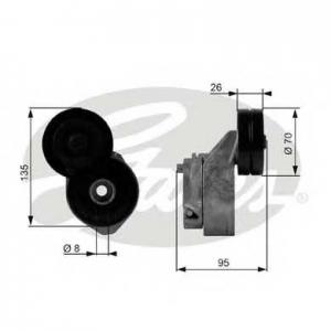GATES T38430 Натяжной ролик, поликлиновой  ремень